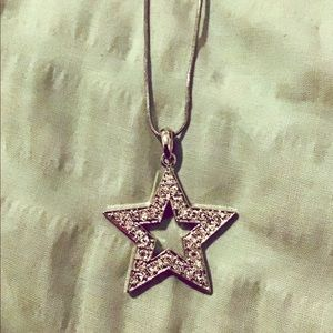Sterling Silver Glitzy Star Necklace